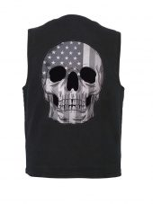 Men's denim vest with flag skull patch