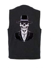 Denim vest with preacher skull patch