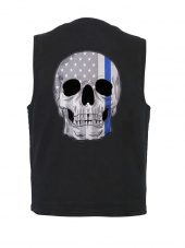 Denim vest with thin blue line patch