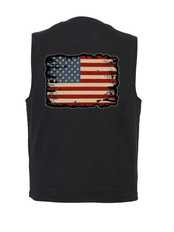 Denim vest with distressed American flag patch