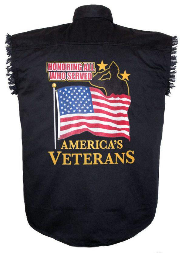 mens black twill denim cutoff shirt with honoring those who served