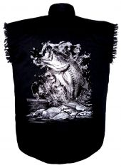 mens black twill cutoff denim shirt with fish