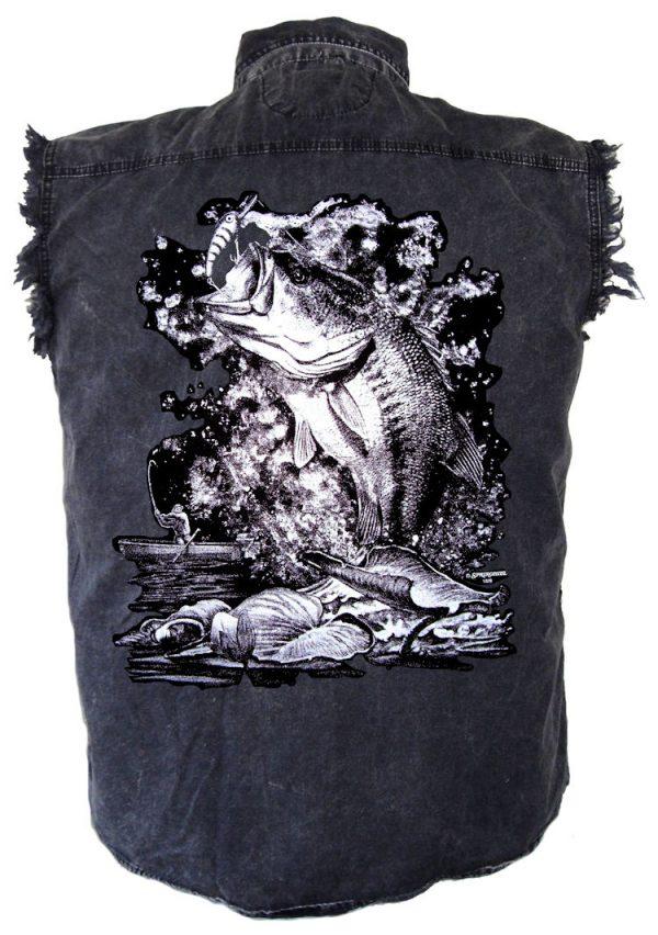 mens denim fishing cutoff biker shirt