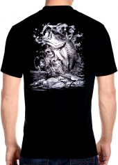 mens fishing on the lake biker t-shirt