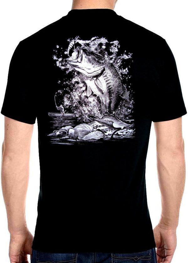 mens fishing on the lake biker t-shirt