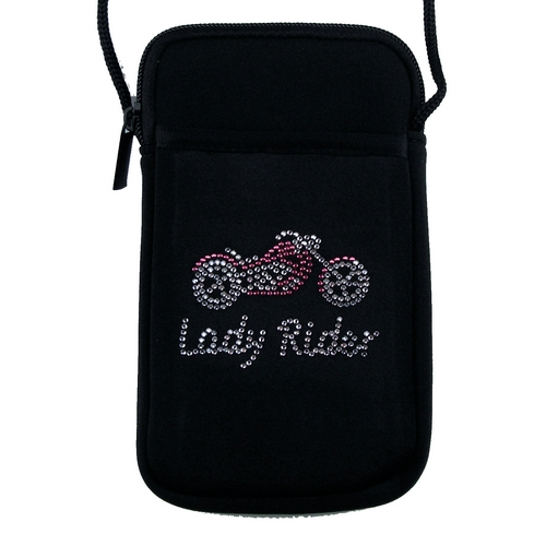 Lady rider motorcycle phone holder