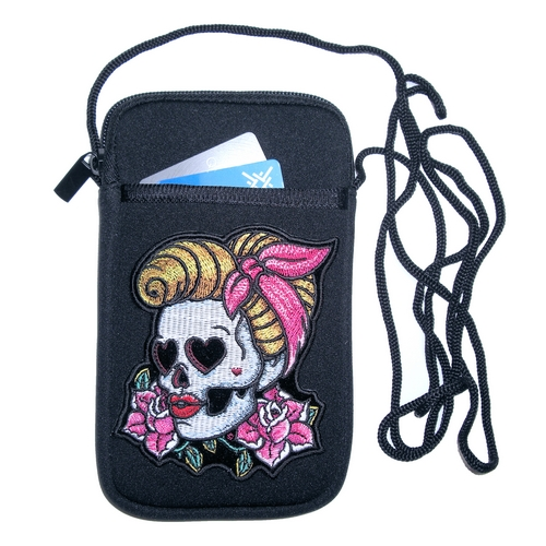 Women's biker cell phone case with patches