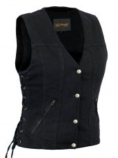 Ladies denim vest with side laces