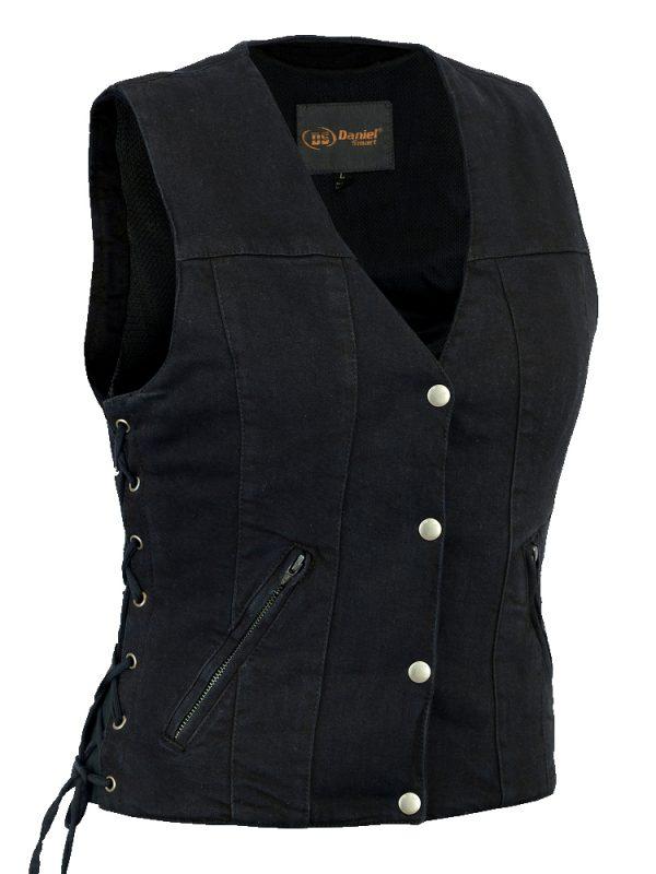 Ladies denim vest with side laces