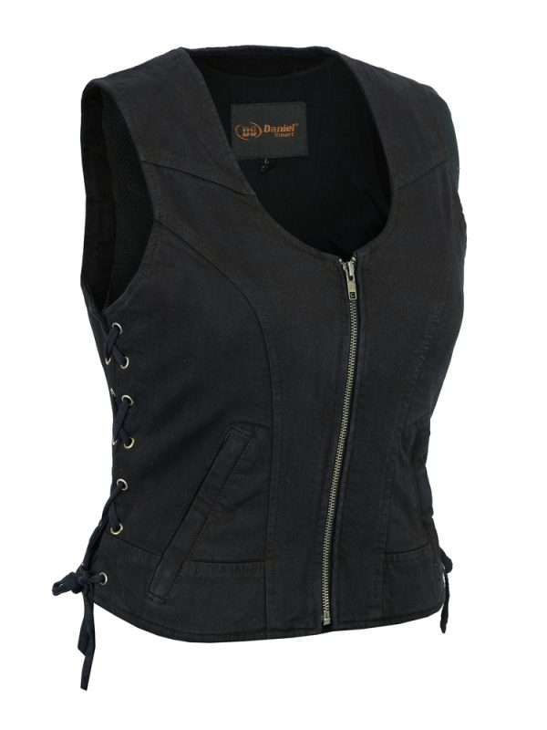 Women's black zipper denim vest