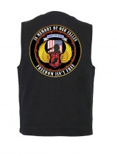 mens black denim vest with POW-MIA biker patch