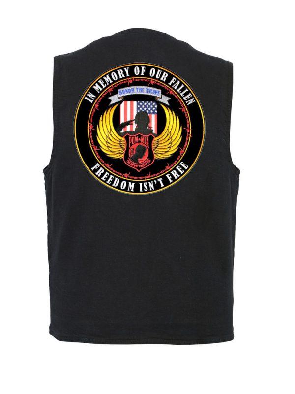 mens black denim vest with POW-MIA biker patch