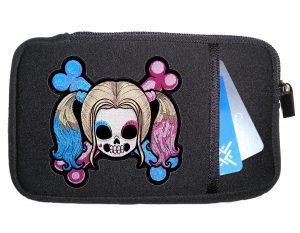 Ladies Harley Quinn crossbones patch phone case