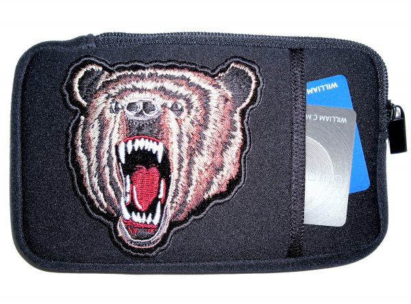 Mens phone case with angry bear patch design