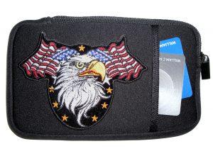 Mens phone case with patriotic eagle patch design