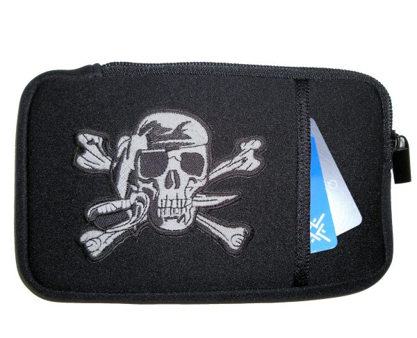 Mens phone case with pirate patch design