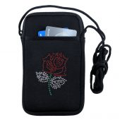 Lady biker phone case with rhinestone red rose design