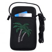 Ladies cell phone case with rhinestone palm trees design