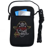 Women's cell phone case with rhinestone pirate design