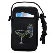Women's phone case holder with rhinestone martini and parrot design