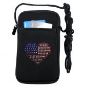Women's smart phone case with rhinestone heart flag design