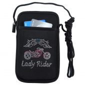 Lady rider motorcycle wings rhinestone design phone case
