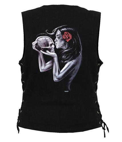 ladies designer denim vest with lady sugar skull design