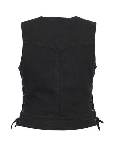 ladies daniel smart black denim vest with side laces