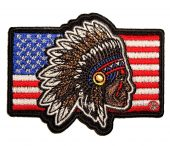 patriotic native american indian flag biker patch