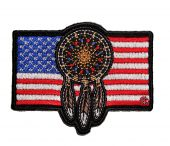 patriotic native american indian dream catcher biker patch