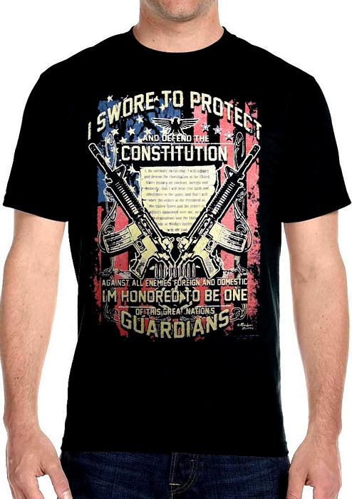 mens constitution black biker t-shirt