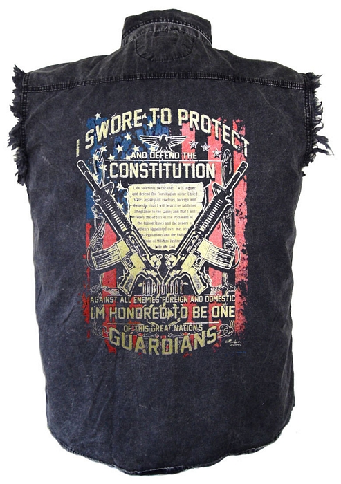 mens constitution design denim cutoff biker shirt