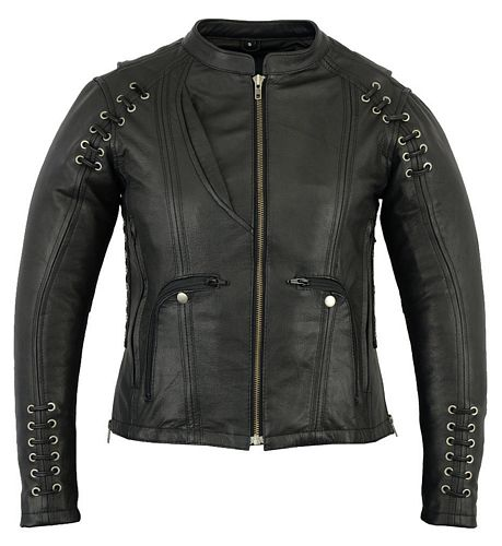 ladies leather jacket with laces