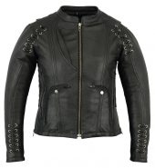 Women's leather jacket with laces