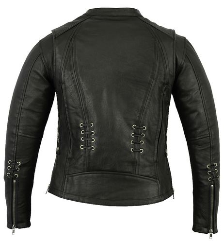 ladies stylish lace leather motorcycle jacket