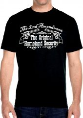 Mens black 2nd amendment homeland security biker t-shirt