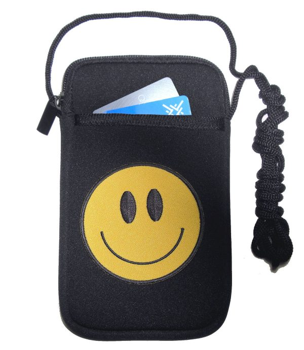 ladies cell phone holder with yellow smiley face design