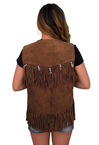 ladies western style suede leather brown vest