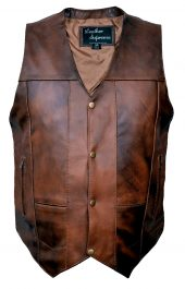 Concealed carry brown biker leather vest