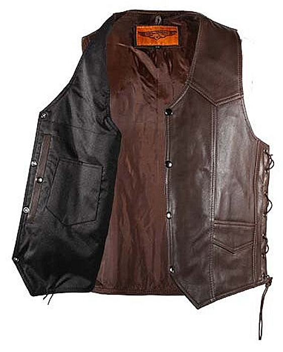 Concealed carry brown leather vest