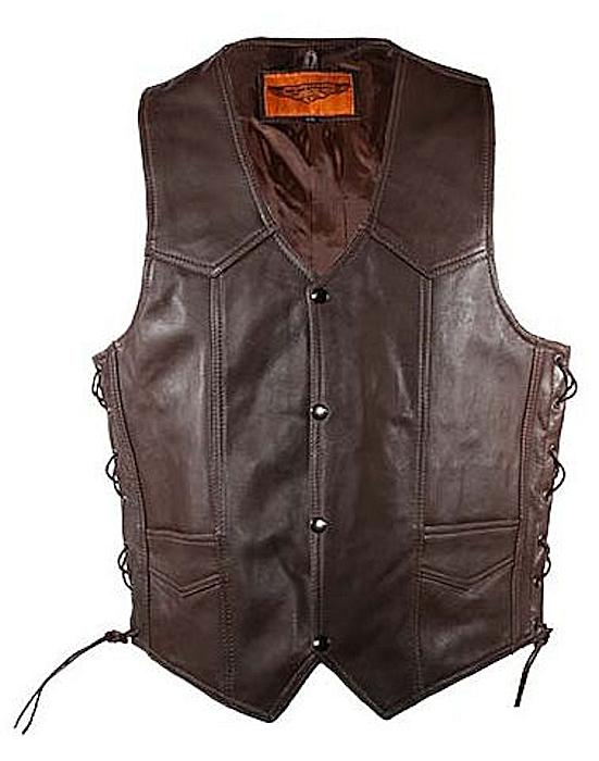 Brown cowhide leather vest