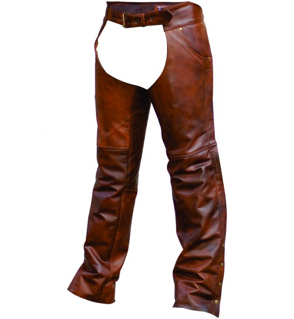 Mens buffalo hide brown leather chaps