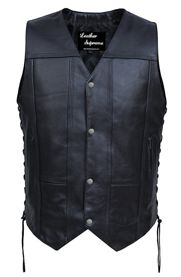 10 pocket leather vest with concealed carry pockets