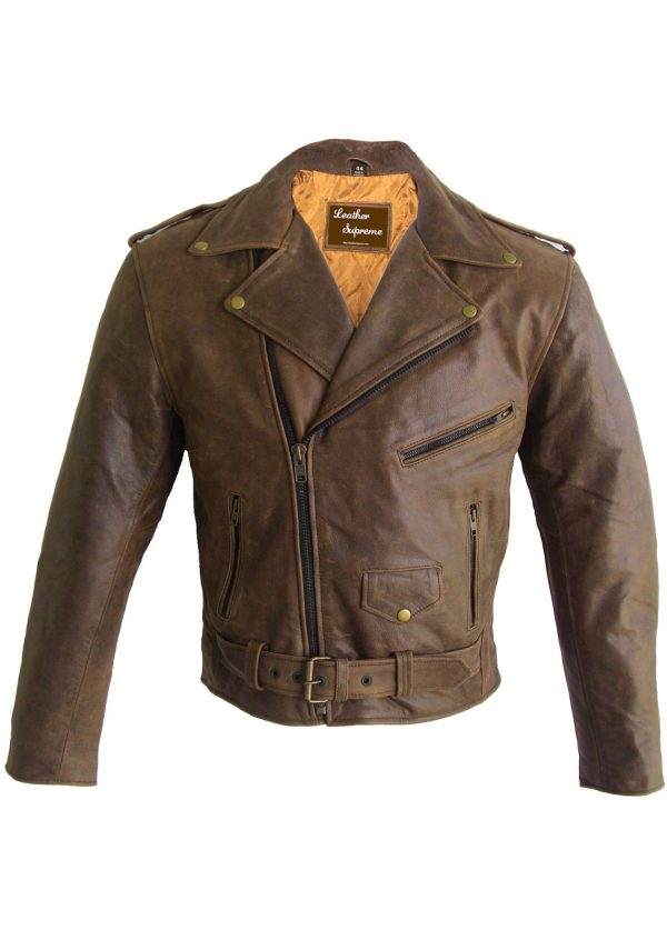 Brown buffalo hide leather motorcycle jacket with concealed carry pockets