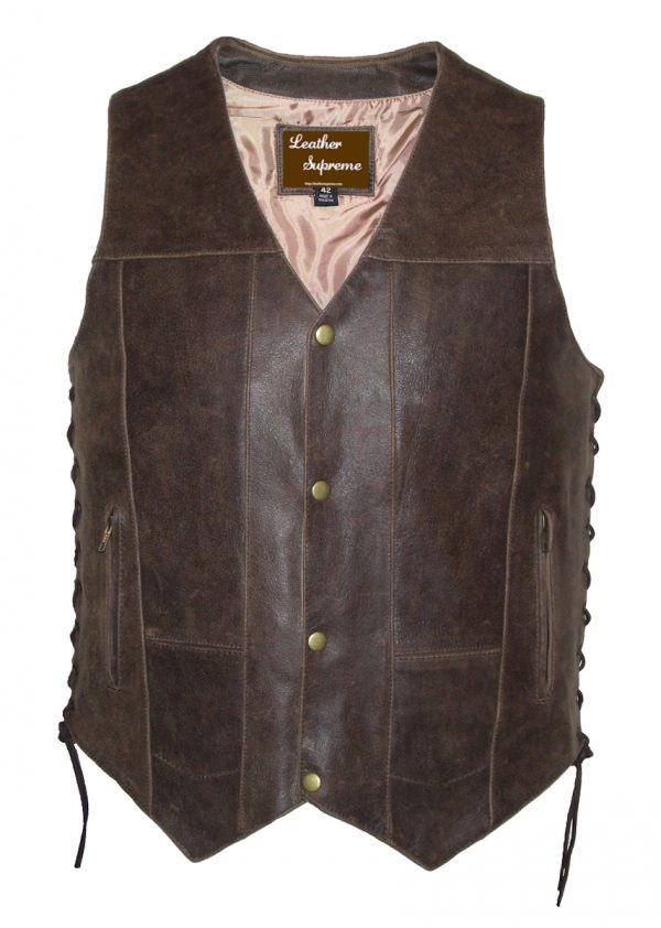 Mens brown concealed carry 10 pocket leather vest