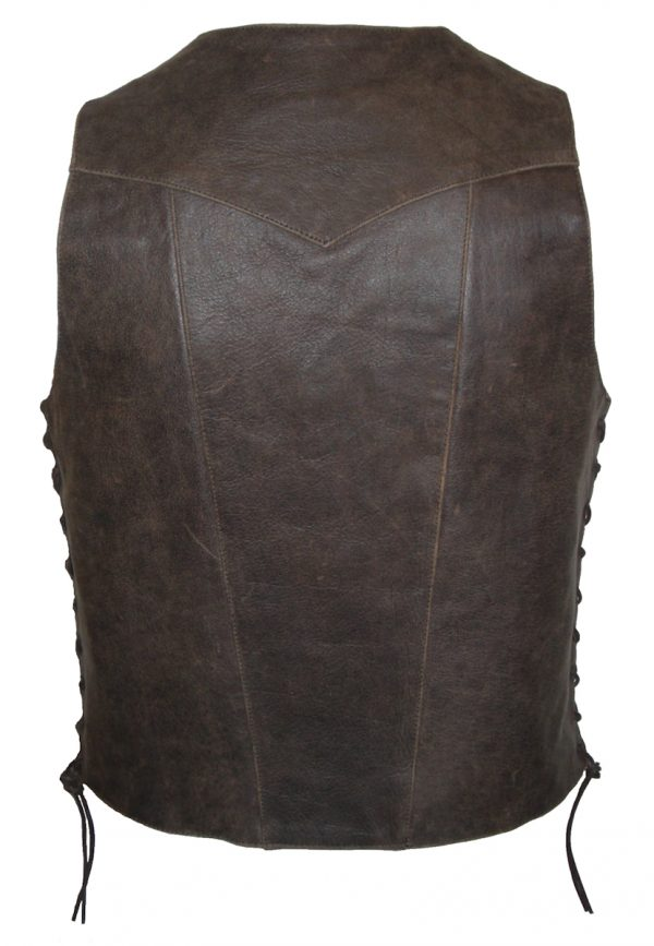 Buffalo hide brown 10 pocket leather vest