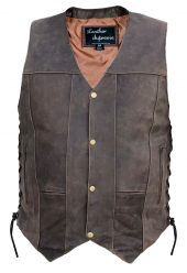 Mens 10 pocket concealed carry brown buffalo hide leather vest