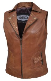 Ladies brown lambskin leather vest