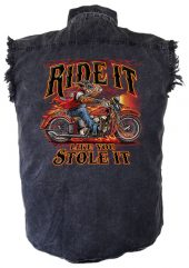 Wild hog men's denim biker shirt
