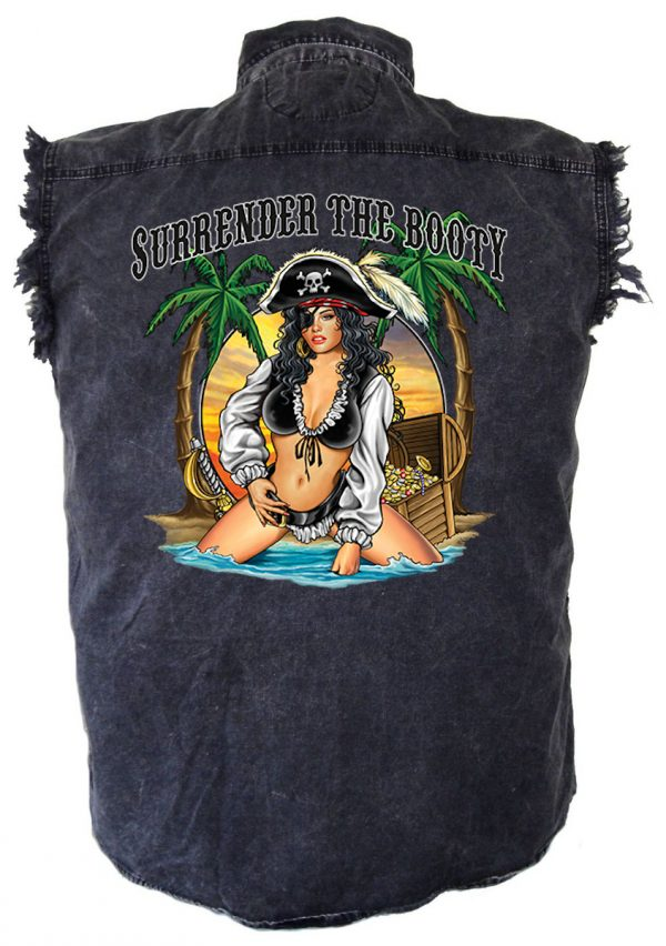 Sexy pirate girl denim biker shirt